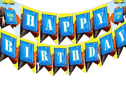 Happy Pop Birthday (POP parties Gaming Battle Party Happy Birthday Banner - Gaming Party Supplies - Game Truck Party Decorations - Battle Banner)