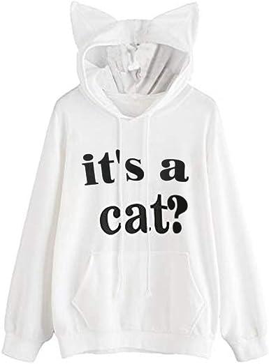 Luckycat Gato Oreja Sudadera con Capucha para Mujer Adolescentes Chicas Mujer Sudadera Impresión del Gatito del Gato Sudaderas con Capucha Cortas para Mujer Camisetas Mujer Blusa Tops Sudadera Mujer: Amazon.es: Ropa y