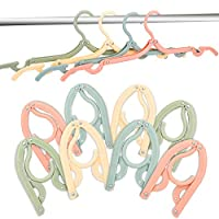 mengwoha 16 pcs Travel Hangers Portable Collapsible Clothes Hangers Folding Hangers Travel Laundry Accessories Space Saving for Clothes(16 pcs with 6 Clips)