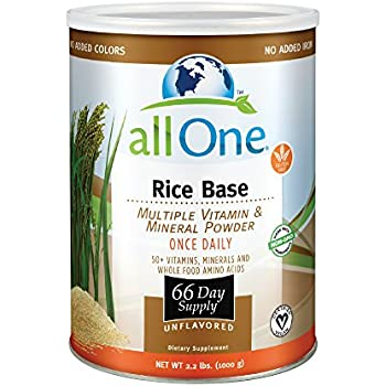 allOne® Rice Base Multiple Vitamin & Mineral Powder   Once Daily Multivitamin, Mineral & Whole Food Amino Acid Supplement w/ 6g Protein   66 Servings