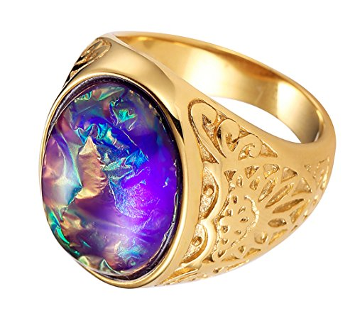 Created Oval Gemstone Setting Can Change The Color 18K Gold Statement Ring Wedding Band for Women & Men - Stone Color Gents Oval