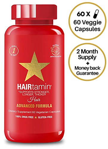 HAIRtamin Biotin Hair Growth Vitamins - Best Hair Skin and Nails Vitamins, All Natural Daily Multi-Vitamin Supplements for Thicker Fuller Healthy Hair, Strong Nails, Glowing Skin, 60 VEGGIE CAPSULES