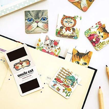 4 set/lote Tío gato marcadores magnéticos Mini clip de página para marca de libro Kawaii Papelería Accesorios de oficina Material escolar 6115: Amazon.es: Oficina y papelería