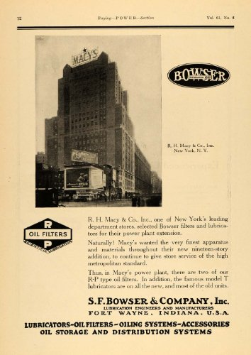 1925 Ad S F Bowser Lubrication Oil Systems Macy's NY - Original Print - Macys Indiana In