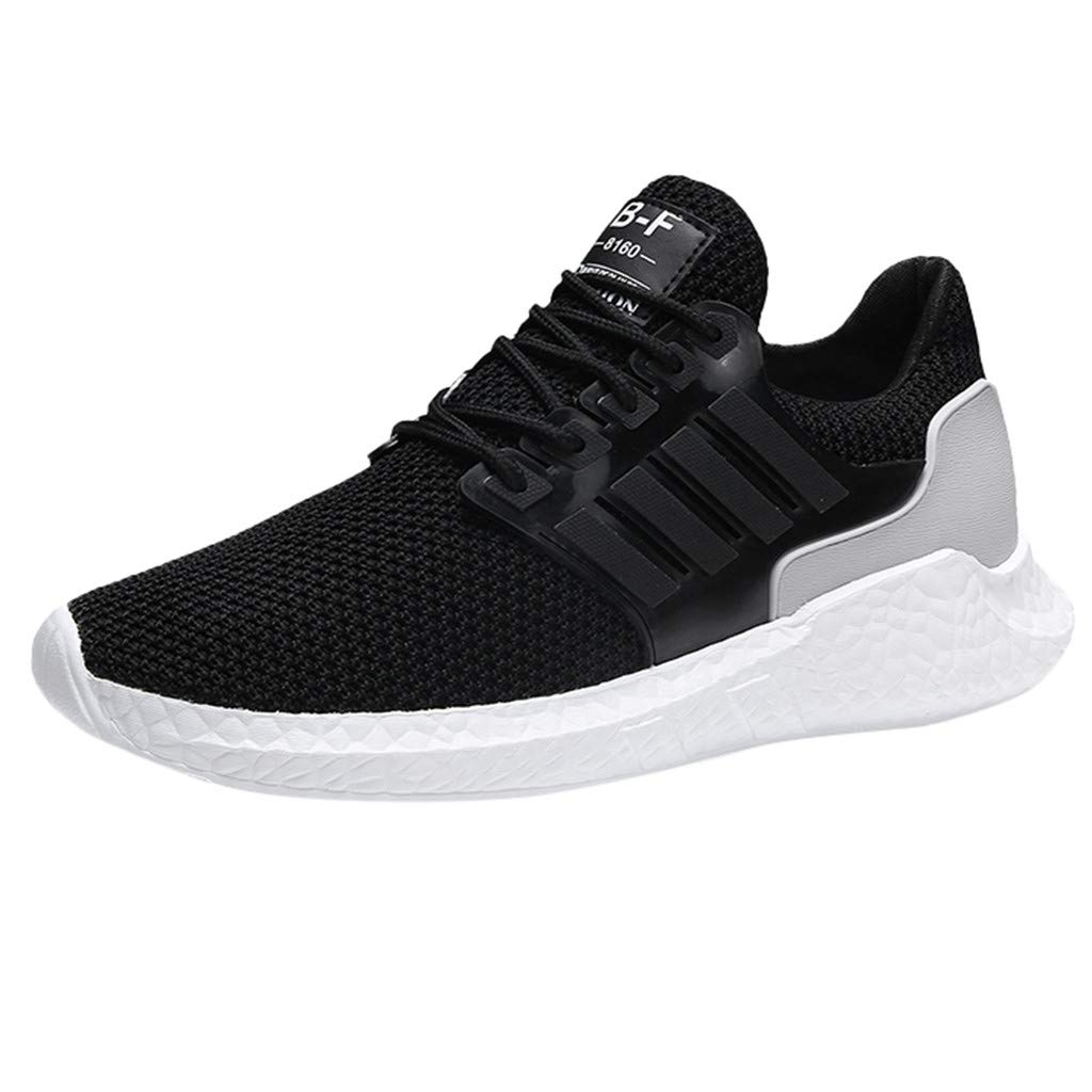 Men's Breathable Mesh Sneakers Summer Fashion Round Head Lace-Up Shock Absorbing Sports Shoes by Dacawin-Men Sneakers