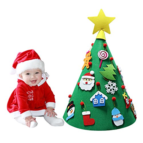 PartyTalk 3D DIY Felt Christmas Tree Toddler Friendly Christmas Tree Hanging Ornaments Kids Xmas Gifts Christmas Home Decorations