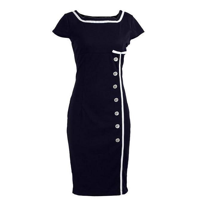 e05ca249b6d6 ClosetOnline Navy Blue Nautical Sailor Rockabilly Vintage Pinup Retro  Pencil Women's Dress - X-Small