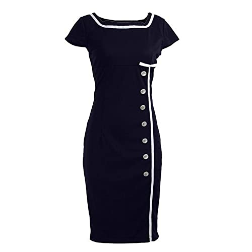 Nautical Sailor Retro Vintage Pinup Pencil Women's Dress