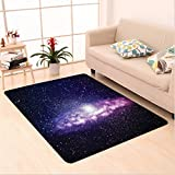 Nalahome Custom carpet uring Nebula Cloud in Milky Way Infinity in Interstellar Solar Explosion Design Purple Dark Blue area rugs for Living Dining Room Bedroom Hallway Office Carpet (6.5' X 10')