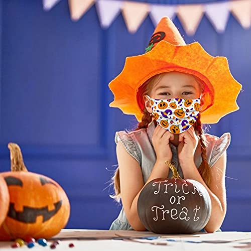 【USA In Stock】50 PCS Halloween Kids Disposable Face_ Masks, 26 Starry Sky Gradient Colorful Printed Design Face_ Masks