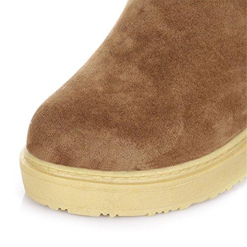 Mode Hiel Dames Faux Suede Winter Warme Lange Sneeuw Schoenen Platform Boven De Knie Laarzen Bruin