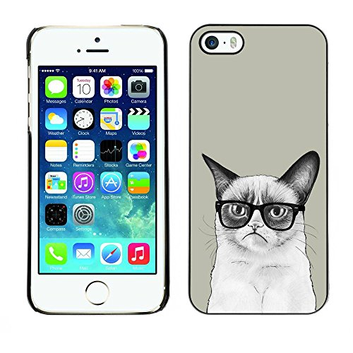 Housse Coque Étui de protection Anti-Scratch Effacer pour Apple Iphone 5 / 5S / Business Style Funny Mad Angry Cat