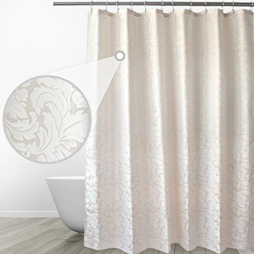 Eforgift Modern Damask Scroll Shower Curtain Waterproof Polyester Bathroom Shower Curtain Beige Fabric Sturdy with Rustproof Reinforced Metal Grommets, 36-inch x 72-inch