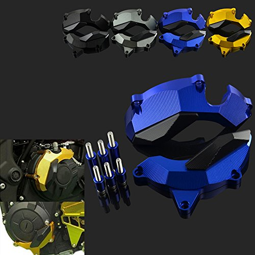 JFG RACING CNC Blue Frame Crash Pad Engine Stator Slider Protector For Yamaha YZF R3 2014-2016 Motorcycle Dirt Pit Bike ()