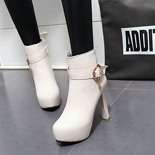 Carolbar Womens Zip Buckle Fashion Elegance Platform High Heel Dress Boots Beige UQJgFz7VDd