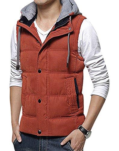 CELINO Men's Padded Warm Gray Cotton Hood Concealed Zippe...