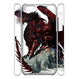 Cell phone 3D Bumper Plastic Case Of Red Dragon For iPhone 5C