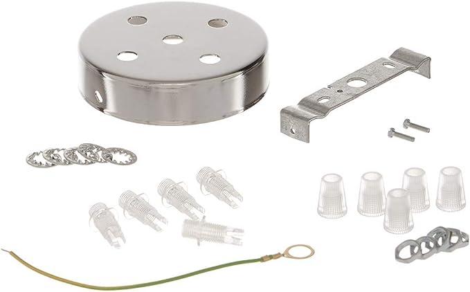 Kit roset/ón Redondo /Ø 100/h24/mm 9/agujeros Acero Cromado con soporte Tornillos y sujetacables