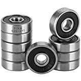 XiKe 10 Pack 625-2RS Bearings 5x16x5mm, Stable Performance and Cost-Effective, Double Seal and Pre-Lubricated, Deep Groove Ball Bearings.