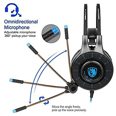 [2017 Newly Updated SADES SA936 Gaming Headset] 3.5mm Wired Stereo Sound Gaming Headset Over Ear Headphones With Microphone Noise Isolating for New Xbox One /PS4/ PC/ Laptop /phone (Black&Blue)