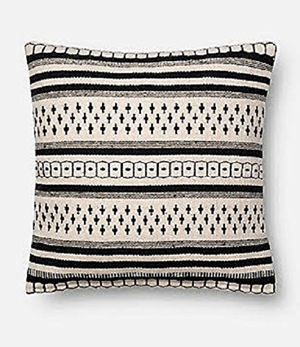 Magnolia Home By Joanna Gaines Charis 18-Inch Square Throw Pillow in Black/White (Gaines Bedding Joanna Magnolia)