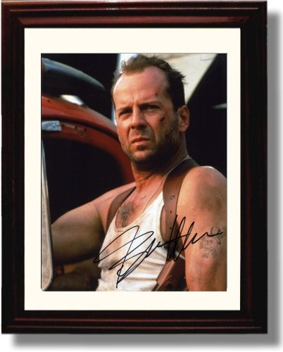 Framed Bruce Willis Autograph Replica Print - Die Hard (Bruce Willis Poster)