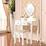 Mecor Vanity Table Set with Oval Mirror/4 Drawers,Wood Makeup Dressing Table Bedroom and Cushioned Stool,White
