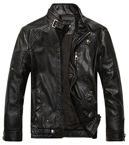 Chouyatou Men's Vintage Stand Collar PU Leather Jacket (XX-Large, Black) (Leather Belted Motorcycle Jacket)