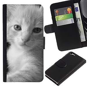 EuroCase - Apple Iphone 6 4.7 - kitten fluffy black white javanese - Cuero PU Delgado caso cubierta Shell Armor Funda Case Cover