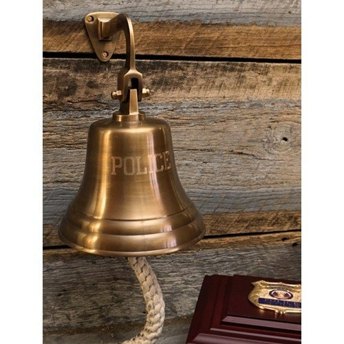 8 Inch Antiqued Brass Engraved Police Bell