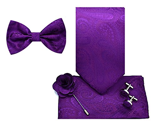 5pc Necktie Gift Box-Paisley-Dark Purple by Oliver George