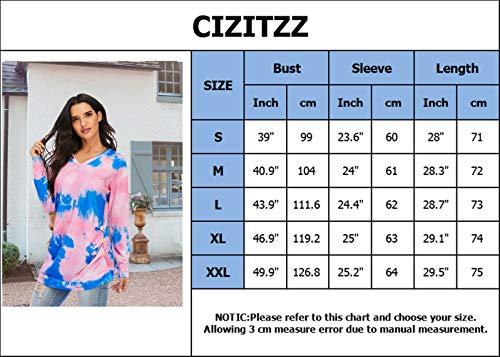 CIZITZZ Women's Tie Dye Long sleeve Loose Pullover Top Shirts V Neck PF1 XXL