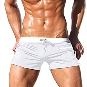Mens Swim Trunks Pants Swimsuit Shorts Slim Swimwear Front Tie with Pocket at Front Side