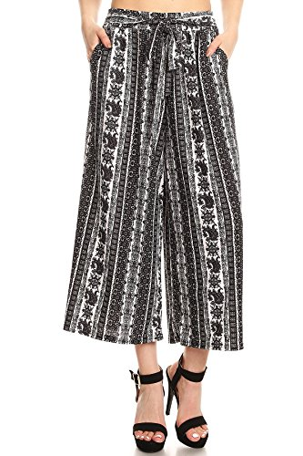 ShoSho Womens Flare and Palazzo Pants Bell Bottoms Wide Leg Spring Summer Cropped Palazzo Paisley Print Black/White (Paisley Cropped Pants)