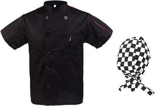Homyl Chamarra con Sombrero de Cocinero Chef Doble Botonadura ...