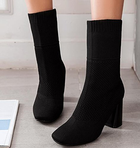 Heeled Boots And nbsp;Black High Winter Stretch Thin Boots Legs Socks 36 Boots Women KHSKX Autumn 7Cm Boots Thick Barrel Knitted Boots And And w1n6dq