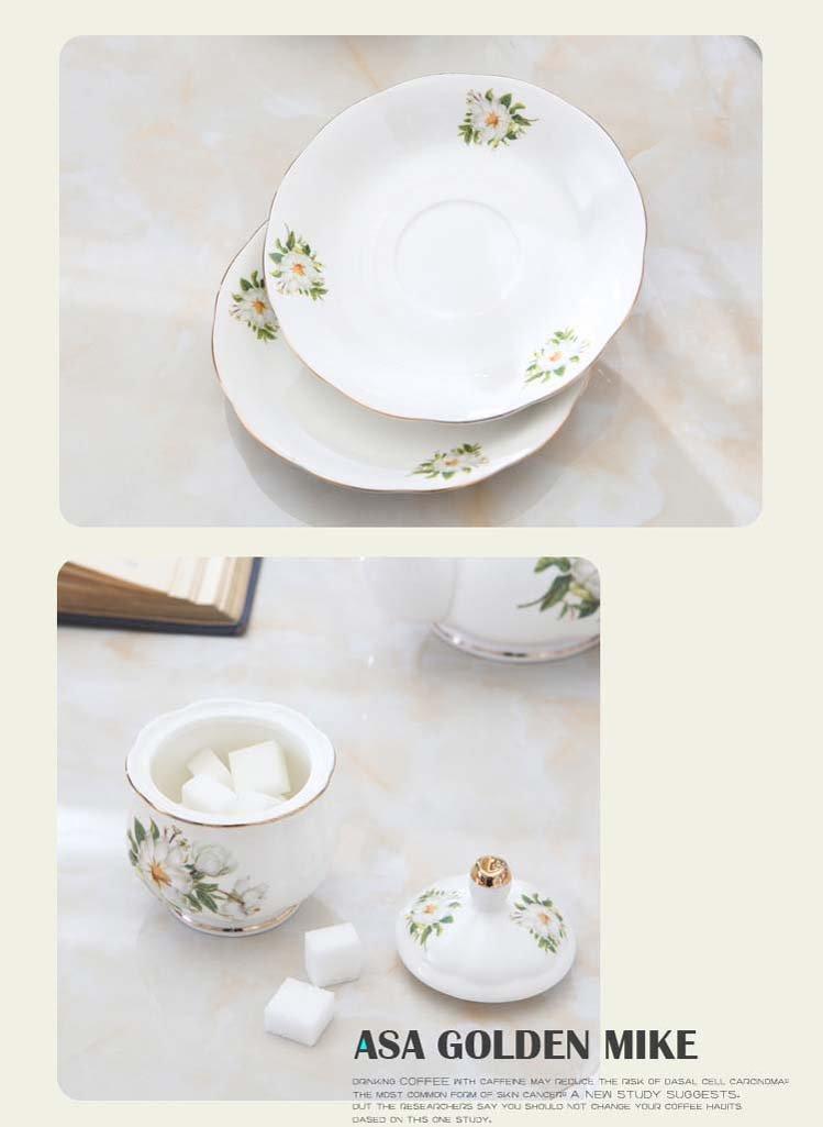 Juego Europeo De La Taza De Café Del Hueso De China, Taza De Té De Cerámica De La Porcelana Fijada Con El Tenedor Del Metal, Sistemas Del Regalo Del Té De ...