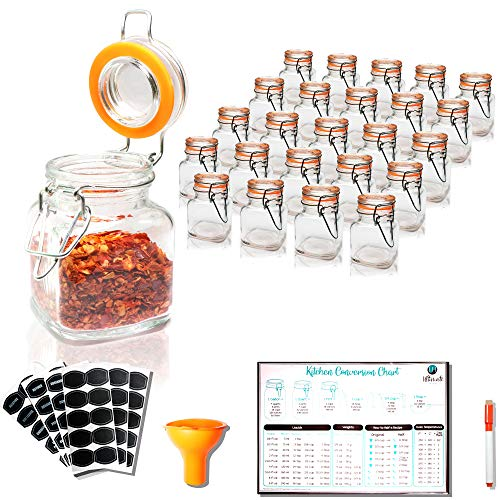 Spice Jars - 3.4 oz Airtight Spice Containers | 24 Count Flip Top Glass Jars with Lids | Empty Spice bottles with 60 Labels, Chalkboard Pen, Magnetic Conversion Chart | Kitchen Spice Organizer ()