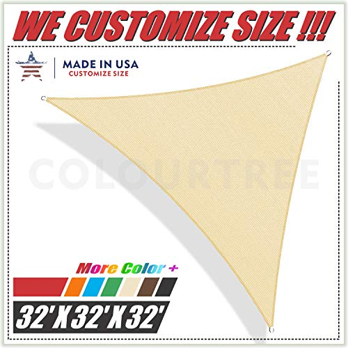 ColourTree 32 x 32 x 32 Beige Triangle Sun Shade Sail Canopy Awning UV Resistant Heavy Duty Commercial Grade -We Make Custom Size