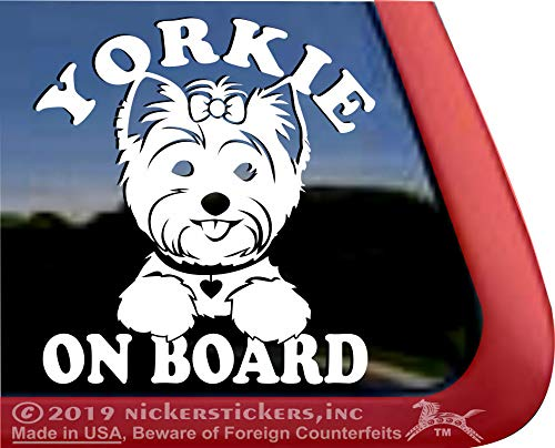 Yorkie On Board Vinyl Yorkshire Terrier Window Decal Sticker (Picture Dog Yorkshire Terrier)