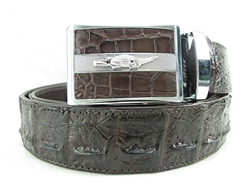 (PELGIO Genuine Crocodile Backbone Skin Leather Men's Belt 46