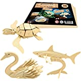 3D Wooden Puzzles by WoodFlair - 3 pcs Set - Entertaining Toy puts You in the Action. Accurate manufacturing - Great Gift and Stylish Interior Decoration (Aquatic)