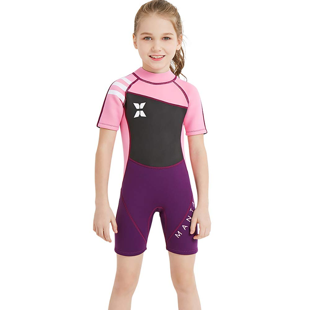 YAMTHR Kids Wetsuit 2.5mm Premium Neoprene Shorty Full Swimsuit One Piece UV Protection for Toddler Baby Children and Girls Boys (Girl's Shorty Suit 2.5 mm/Pink, Kids S Size for Toddlers) by YAMTHR