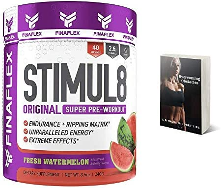 Finaflex Stimul8 Pre-Workout Powder, Watermelon, 8.5 Oz Extreme Energy, Optimum Pre Workout for Men Women, Nutrition Supplement Drink, Best Pre Workout Supplements for Ripped Muscle, Plus E-Book