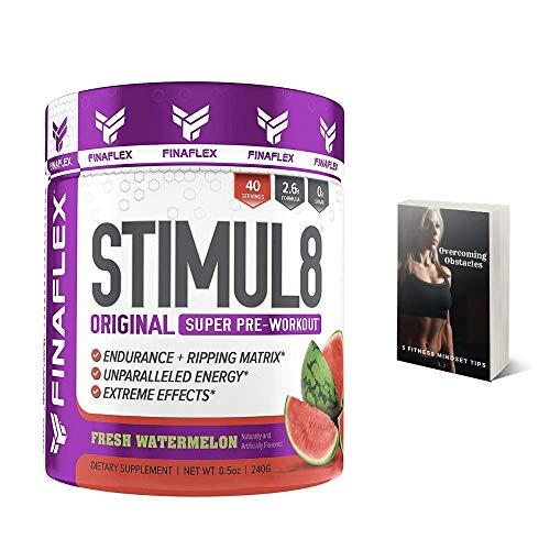Finaflex Stimul8 Pre-Workout Powder, Watermelon, 8.5 Oz Extreme Energy, Optimum Pre Workout for Men & Women, Nutrition Supplement Drink, Best Pre Workout Supplements for Ripped Muscle, Plus E-Book