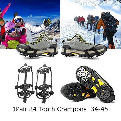 WULING 24-Stud Snow Antislip Spikes Grippers Crampon Cleats Shoe Chain Spike (Size: L, Color: Black)