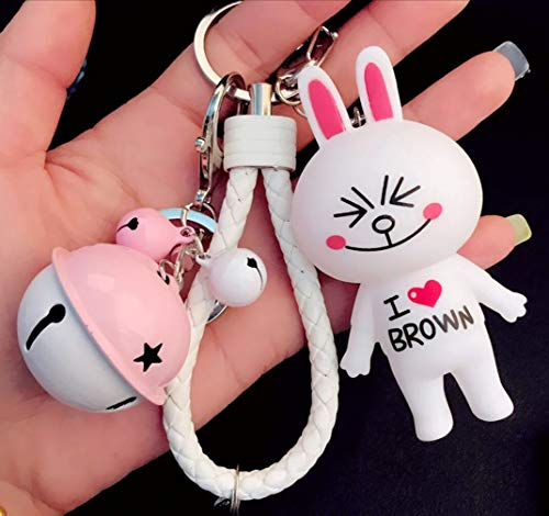 (Thedmhom 1 Pcs Cute Kawaii Cartoon I Love Brown T-Shirt Squinting Smile Cony Bunny Keychain Bell White Wrist Rope Toy Gift Fashion Excited Rabbit Ornaments Coin Purse Keyring Bag Buckle Phone Pendant)