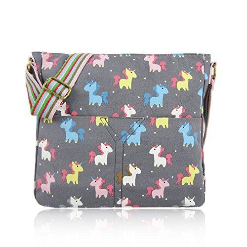 Craze London NEW Ladies Girls UNICORN/RABBIT/UMBERILLA/ANCHOR/CRITTERS/WHALE/ELEPHANT/MIXED CAT/Cross Body Bag Canvas Bag Messenger School Bags Unicorn-grey