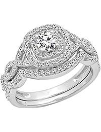 1.00 Carat (ctw) 14K Gold White Diamond Swirl Bridal Halo Engagement Ring Set 1 CT