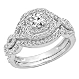 AGS CERTIFIED 1.00 Carat (ctw) 14K White Gold White Diamond Bridal Halo Engagement Ring Set 1 CT